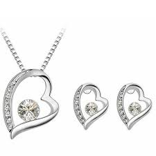 2019 high quality crystal jewelry sets heart pendant necklace earrings jewellery made with crystals from swarovski elements 4319 from sbchf123