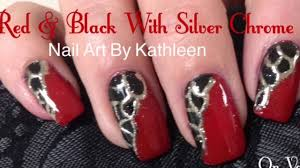 Red & Black Nails With Silver Chrome Design, DIY Nail Art Tutorial ...
