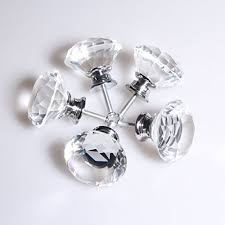 bewelter 5 pcs 40mm clear glass crystal cabinet knobs diamond shap wardrobe door knobs cupboard draw