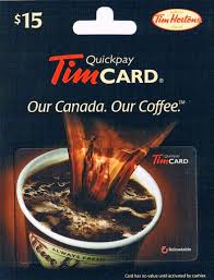 like the local tim hortons these cards can be picked up off the gift card racks i highly remend just asking the manager or cashier if you
