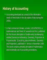 History Of Accounting History Of Accounting History Accounting