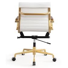 modern office chair leather. Amazon.com: Meelano 348-GD-WHI Office Chair In Vegan Leather, Gold/White: Kitchen \u0026 Dining Modern Leather