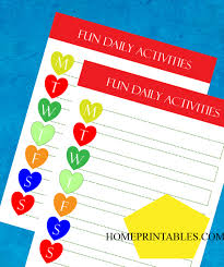 Freebie For Your Kids Fun Daily Activity Chart Home