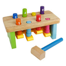 nuheby wooden toy pounding workbench with wooden pegs hammer bench educational toy for kids boys girls 18 months on on