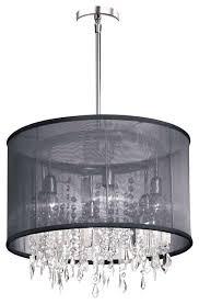 drum light with crystals 6 light crystal chandelier black organza drum shade