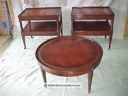 antique 1940 s pair mahogany leather top end lamp tables matching coffee table
