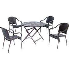 orleans brown 5 piece all weather wicker 40 in round patio dining set