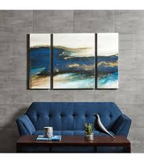 blue gold abstract wave wall art