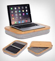 home bamboo lap desk with laptop storage