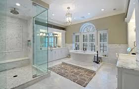 master bathroom remodeling. Luxury Master Bathroom With Dual Side Tub, Rainfall Shower, White Vanity And Marble Counters Remodeling P