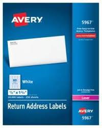 Avery Address Lables Avery Return Address Labels 1 2 X 1 3 4 White 20000 Box Target