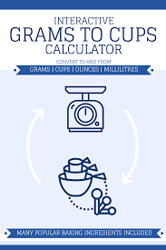 Milliliters To Cups Conversion Chart Grams To Cups Interactive Calculator Includes Cups Grams