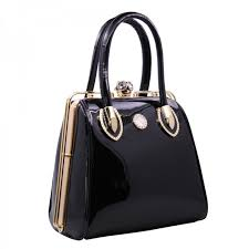 couture wear women designer brand elite crystal high quality patent leather handbag purse