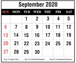 Free Printable September 2020 Calendar Templates Pdf Word