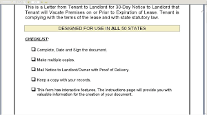 30 day notice to landlord that tenant will vacate premises on or prior to expiration of lease you