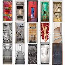 3d door sticker retro old wooden door station bar elevator hall subway stairs color bricks pulling home decor paste decorating stickers decorating stickers