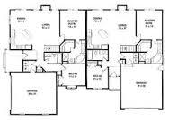 Duplex floor plans  Floor plans and Ranch style on PinterestDuplex Multi Family Plan     sep garage and driveways make them feel