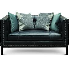 mid century modern black leather loveseat st james rc willey furniture