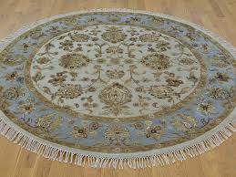 round ivory hand knotted rajasthan wool and silk oriental rugs rug oval large floor anti slip