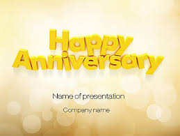 Anniversary Template Happy Anniversary In Yellow Presentation Template For Powerpoint And