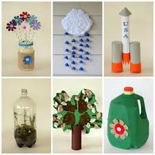 6 kid-friendly earth day crafts made from recycled materials - I like the  bottom, middle idea