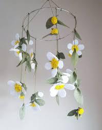 Paper Flower Mobiles White Daisies Felt Flower Mobile Flower Baby Mobile Felt