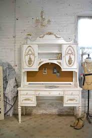 Painted Cottage Chic Shabby Romantic French Desk and Hutch Top