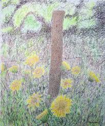 saatchi art artist ron kendall drawing u201cfence postu201d art fence post drawing90 post