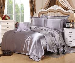 solid satin bed sheet linen court style bs05 black silver duvet cover set single double twin
