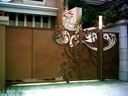 wrought iron sliding gate eclectic entry