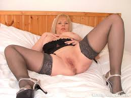 Mature Shaved Blonde Alex UK with Big Tits Wearing Stockings in.
