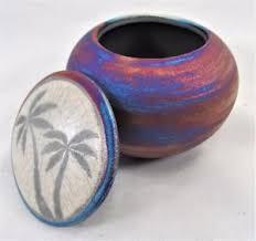 Dream Catcher Jar Palm Tree Dream Catcher Jar Raku Process Hand Thrown Pottery B 69