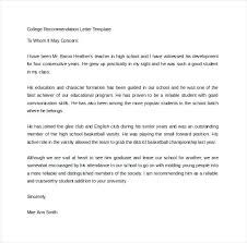 College Recommendation Sample College Reference Letter Template