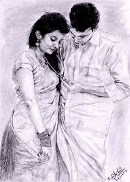 Pencil Sketches Of Couples Indian Traditional Couple Pencil Drawing On Behance