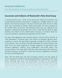 The fdic stands for federal deposit insurance corporation and is an independent agency of the united states government. Successes And Failures Of Roosevelt S New Deal Free Essay Example