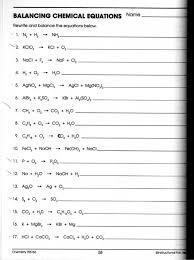balancing equations worksheet middle school