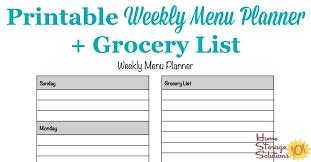 Menu Planner With Grocery List Template Stagingusasport Info