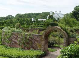 entrance to the rose garden with some of the topiaries behind