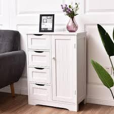 bathroom floor storage cabinets. goplus wood bathroom floor storage cabinet organizer w/ 4 drawer and shelves white 1 cabinets s