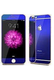 iphone 5 5s colorful front back mirror blue tempered glass for screen protector