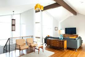 mid century modern ceiling light wood living room with natural open concept furniture floor to lamp