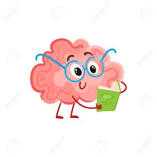 funny smiling brain in round gles reading a book cartoon ilration on white background