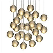 magic ball crystal chandelier 14 lights meteor modern lighting fixture with polished chrome rectangular stainless steel