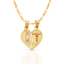 ioka 14k two tone gold our lady of guadalupe broken heart te amo charm pendant with 0 9mm singapore chain necklace 20 com
