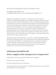 supply chain management essay business management and supply chain  why supply chain management is important management essay why supply chain management is important management essay