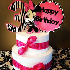 Minnie Mouse Cake Topper Pink and Zebra 3 piece Free to