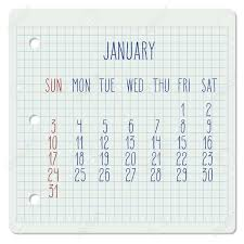 Monthly Calendar Notebook January 2016 Vector Monthly Calendar On A Squared Notebook Page