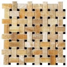 polished yellow onyx basket weave tile single sheet