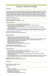 funeral director resume sample funeral director resume