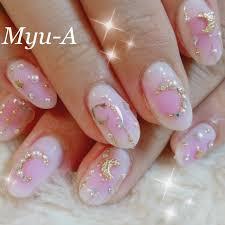 ビジューパール星ホワイトピンク Ayamiのネイルデザインno
